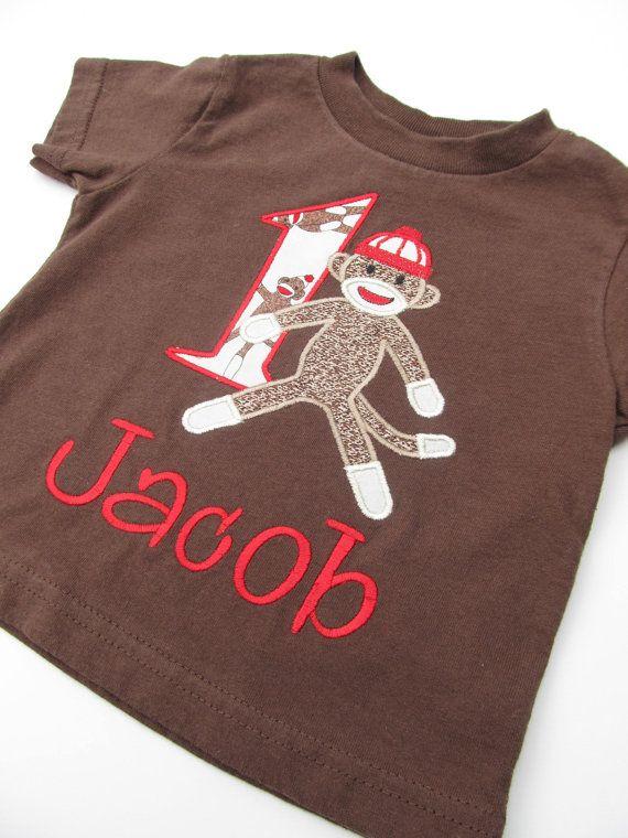 Personalized Sock Monkey Birthday Shirt Set by FunnyFarmCreations