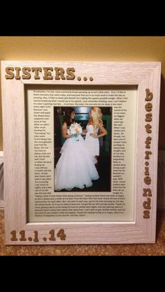 Wedding Gift For Twin Sister : ... speech on Pinterest Sister poems, Wedding survival kits and Sisters
