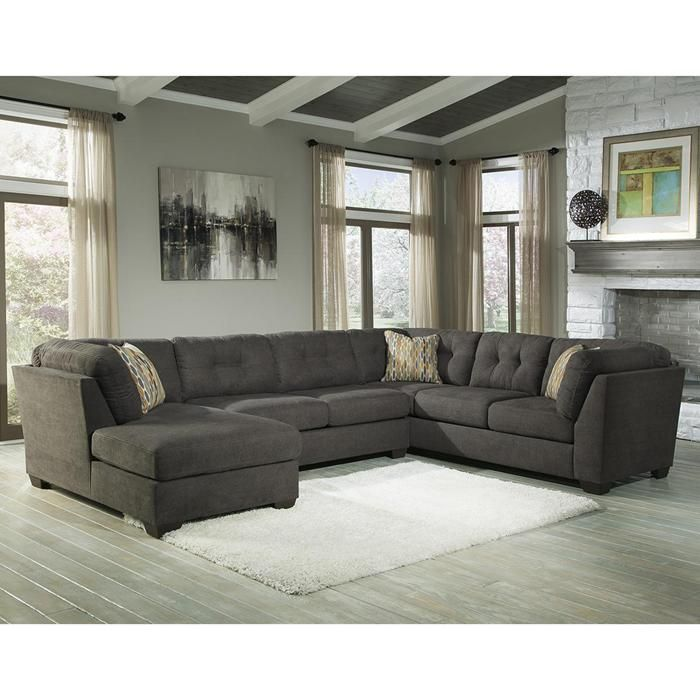 Delta City 3-Piece Sectional Set with Left Arm Facing Chaise in Steel | Nebraska Furniture Mart
