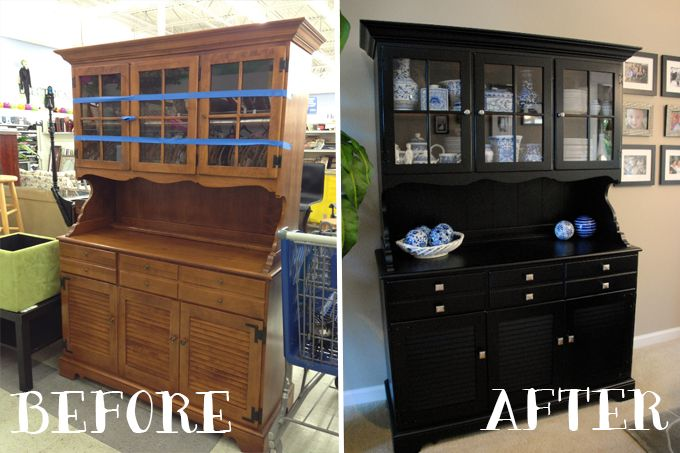 China Cabinet Hutch Makeover before and after. Check out my blog! www.craftingcouture.com