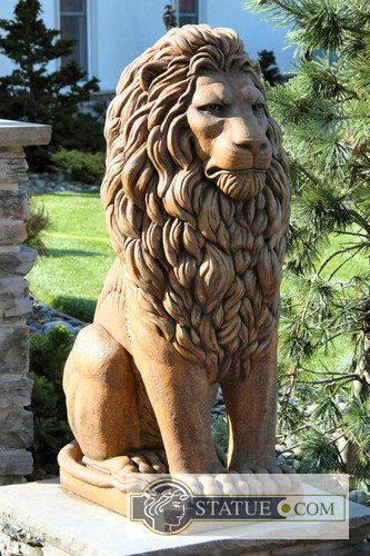 Commanding A Regal And Stately Presence, Our Grandessa Sitting Lion  Sculpture Watches Guard Over Pristine Garden Sanctuaries, Grand  Entranceways And ...