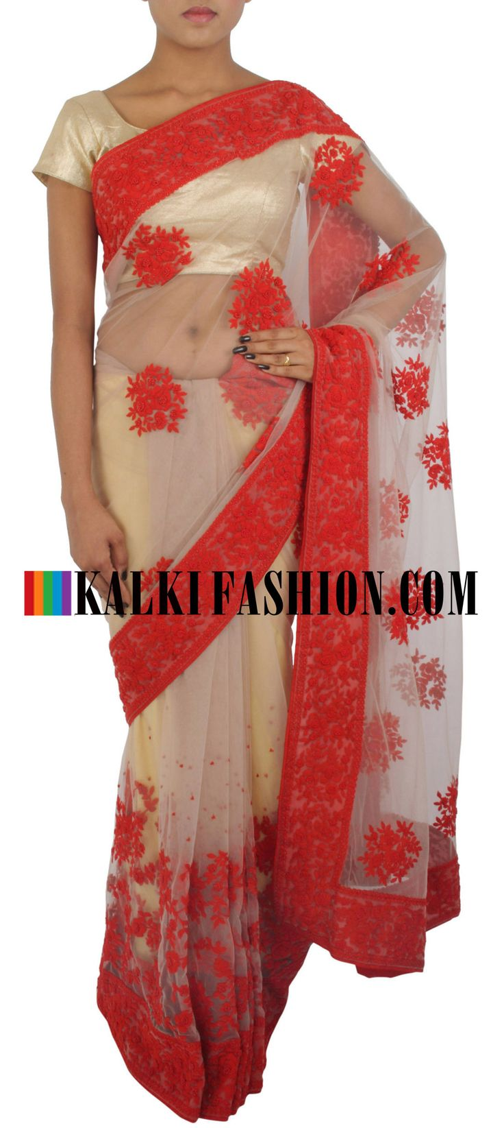 Shop online for this ravishing saree at: http://www.kalkifashion.com/featuring-saree-in-light-brown-net-embellished-in-thread-work-only-on-kalki.html Free shipping worldwide.