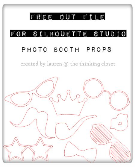 Photo Booth Props!  Silhouette Cut File available for FREE download via thinkingcloset.com