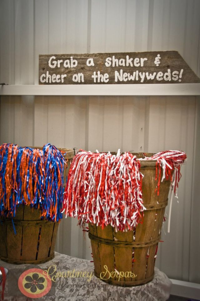 Bama and Gator shakers for our sendoff at our wedding! SEC Relationship. House Divided.