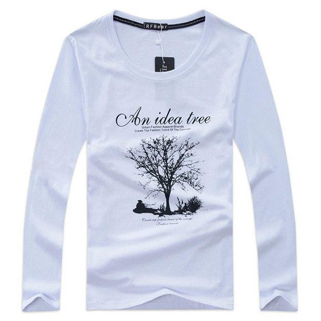 RFBEAR brand 2017 New Autumn and winter cotton man t-shirt geometric long sleeved t shirt o-neck fashion casual print Spring 5XL