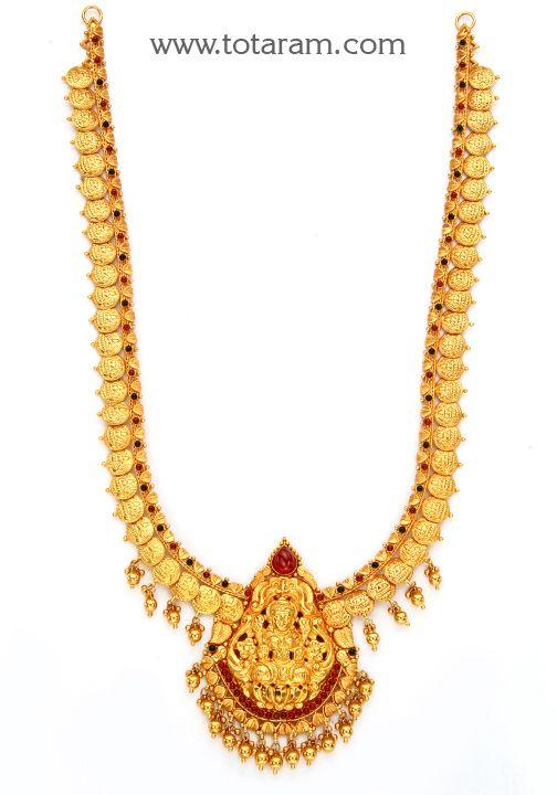 22K Gold 'Lakshmi ' Long Necklace (Temple Jewellery)