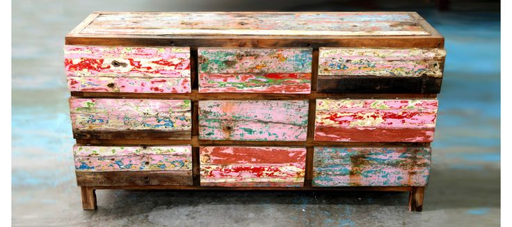 Stories On The Wall - Rustic Chest of Drawers in Perth Made of Old Recycled Fishing Boats