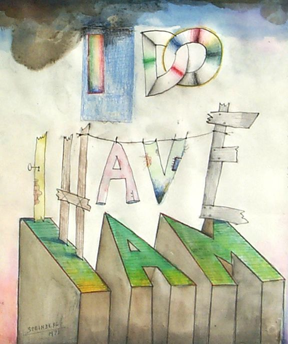 """SAUL STEINBERG """"I Do, I Have, I Am,"""" 1971. Ink, watercolor on paper"""