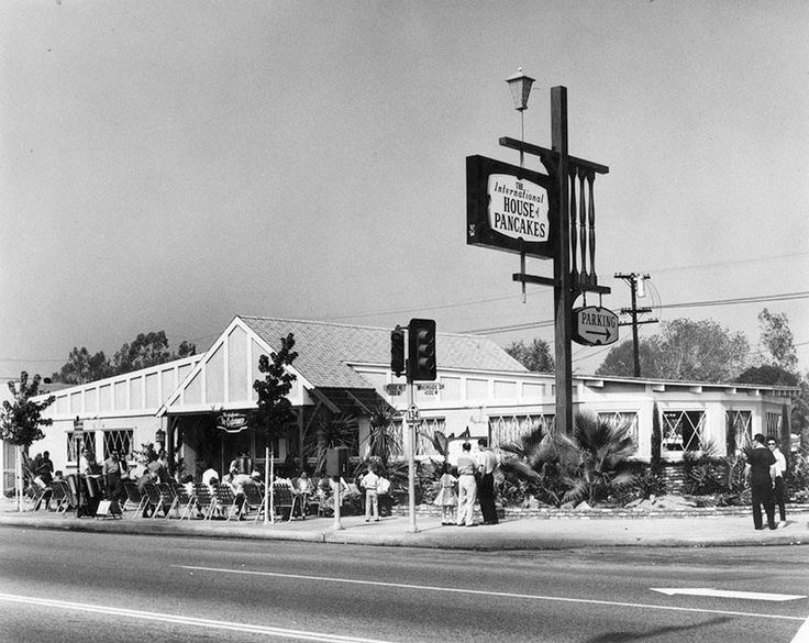 This is the first International House of Pancakes which opened on July 7, 1958 at 4301 Riverside Drive at the northwest corner of Riverside and Rose Street, across the street from Bob's Big Boy (pictured on its fifth anniversary in 1963). The site later became a Hampton's, then Mo's, and finally the Continental which has gone out of business.