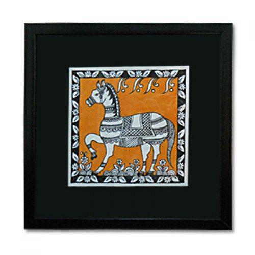 Kalamkari style painting of a horse