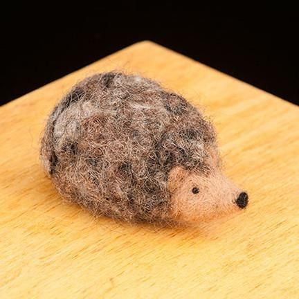 WoolPets Hedgehog needlefelting kit. Learn the art of sculptural needle felting! Kit includes felting needles, wool roving, and step by step photo instructions