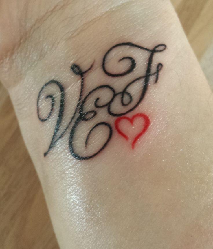 V + E + F Monogram Tattoo by Aneta