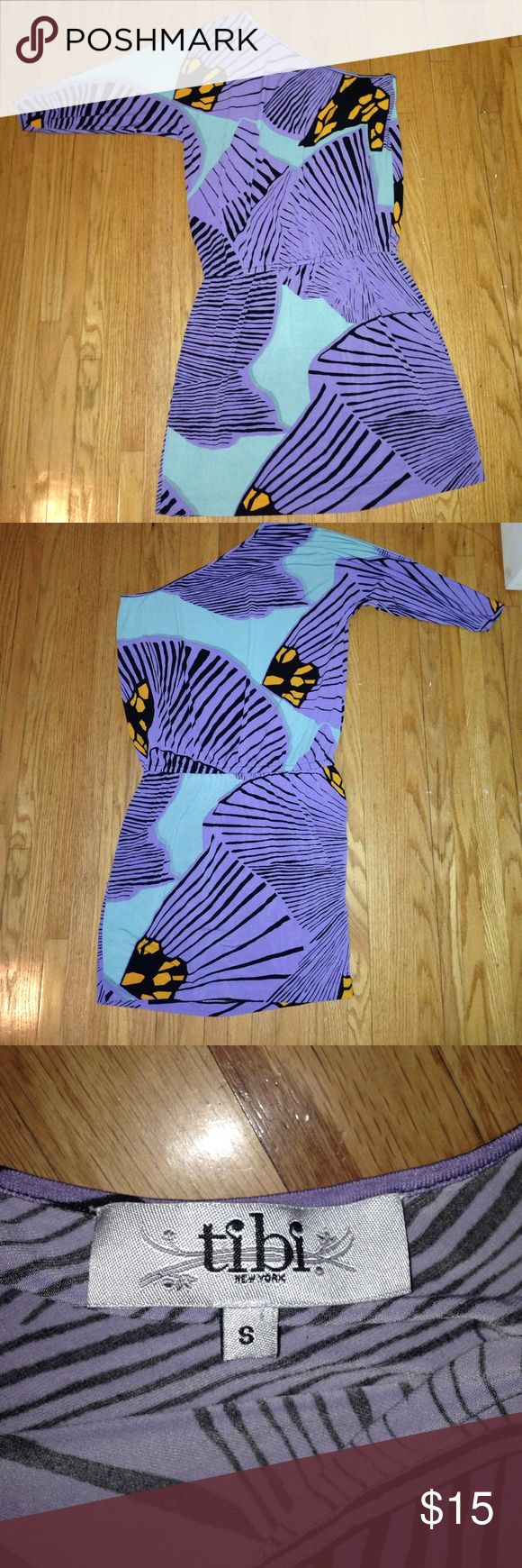 One Shoulder Tibi Dress Super cute and flattering on! Elastic waistband  allows for extra room and comfort. Multi-colored Tibi in purple, teal and orange. Great for summer and into fall! Perfect for weddings or a night out! Tibi Dresses Midi