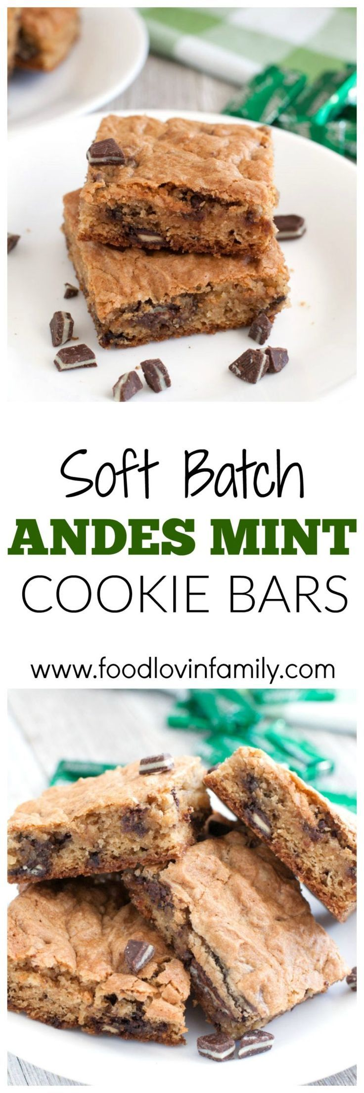 Soft Batch Andes Mint Cookie Bars a soft and chewy cookie bars filled with crushed Andes Creme de Menthe candies. Perfect for St. Patrick's Day or Christmas.  Cookie Bars  Soft Batch  Mint