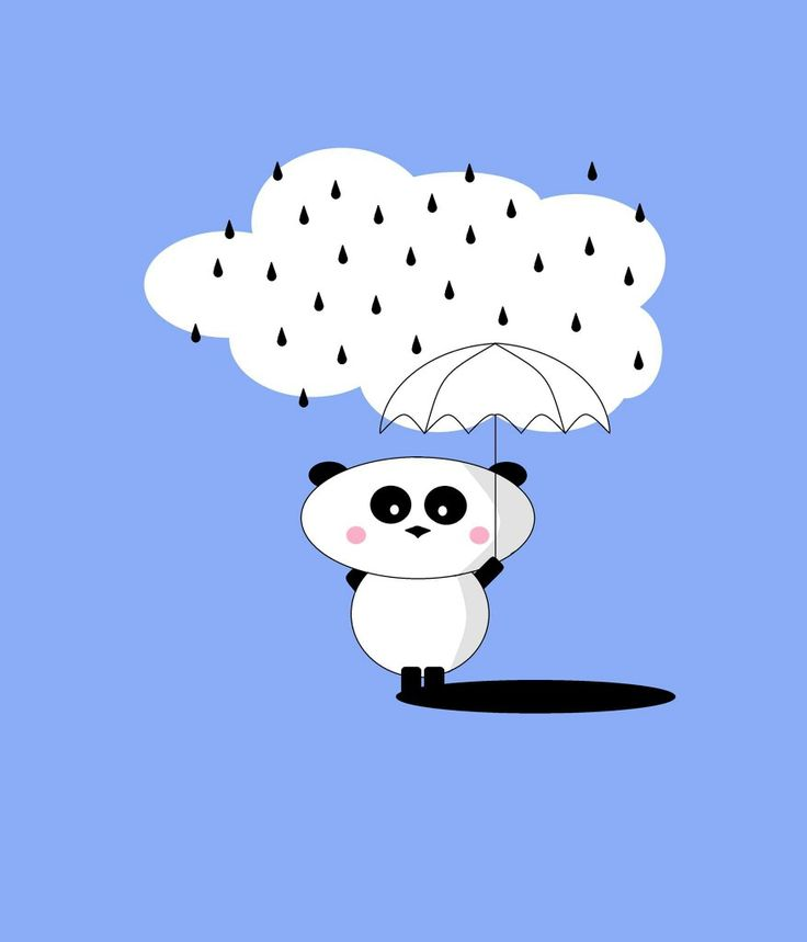 print art child room panda rain blue