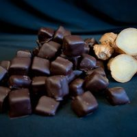 Homemade crystallized ginger enrobed in 58.8% dark Belgian couverture chocolate