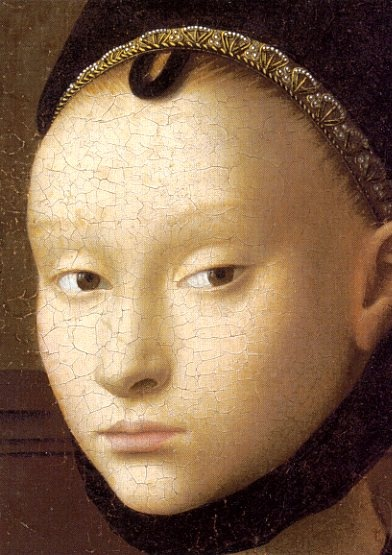 Petrus Christus. Portrait of a Girl (detail) c. 1465-1470 - one of the artist's last portraits painted