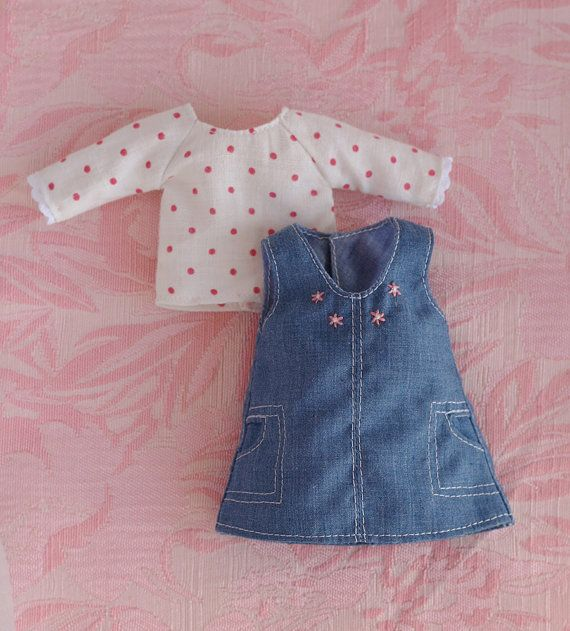 Heidi Denim Pinnie dress set par cosmiadoll sur Etsy