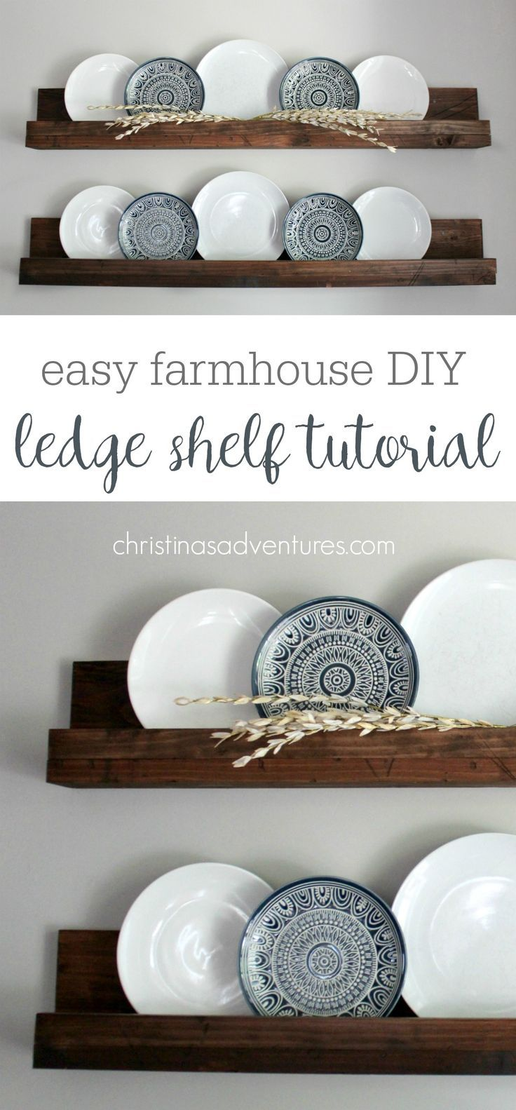 These farmhouse style shelves will take about 30 minutes & less than $20! Such a versatile DIY project - decor can be easily changed out every season! More
