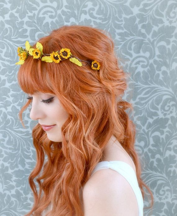 I like the hair style more than the headband Sunflower crown floral headband rustic hair by gardensofwhimsy, $30.00