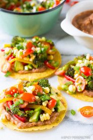 Colorful Roasted Vegetable Tostadas Recipe on ASpicyPerspective.com #mexican #vegetarian #healthy