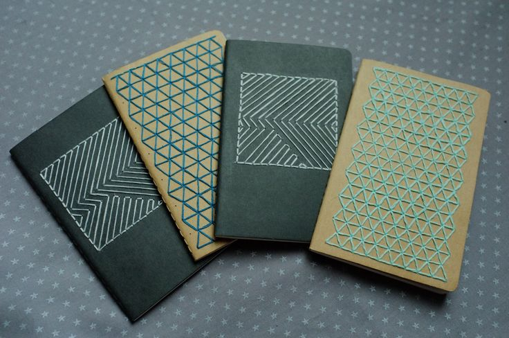 DIY Graphic embroidery Moleskine notebook; Embroidery is an option for my cover. I would like to create a cover that is simple, clean, and linear because the content consists of more subjective material. I do not want to stray too far away from the content though, so embroidering simple geometric patterns would work well.