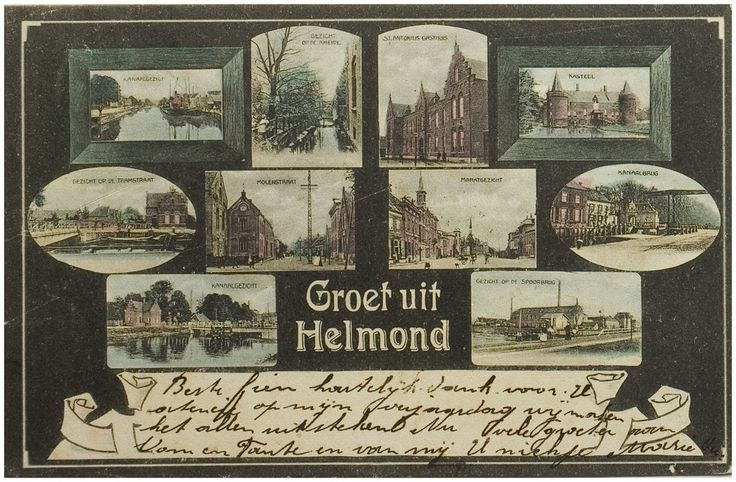 Ansichtkaart van Helmond met tien afbeeldingen: Kanaaldijk bij Gedempte Haven; Groenpad; Molenstraat, gasthuis; Kasteel, zuidzijde; Kanaaldijk bij Waardstraat; Molenstraat, hoek 'Koninginnewal'; Markt met stadhuis; Kanaaldijk met Veestraatbrug ; Kanaaldijk bij Waardstraat; Kanaaldijk bij cacaofabriek Auteur(s) Smits, J.H. (uitgever) - 1905
