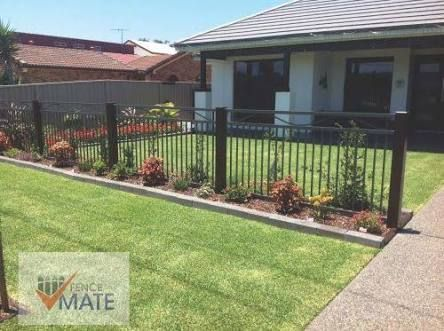 Image result for aluminium fence with timber posts