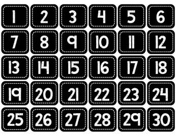 Black & White Square Number Labels