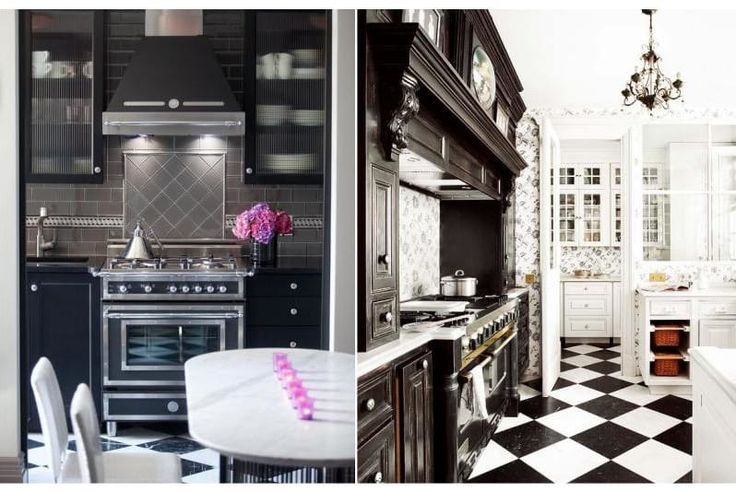 The black color in the kitchen interior