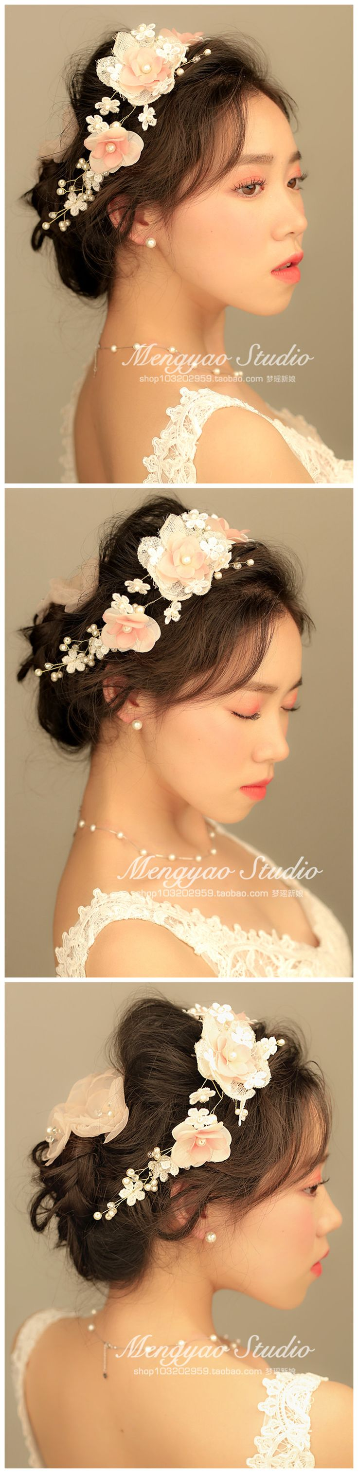Hanayome невесты кружева нитка жемчуга ручной белье головной убор голову цветок свадебных ювелирных свадьбы пряжи со сладким - Taobao