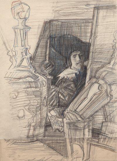 Натюрморт с посудой и портретом. 1985  Бумага, карандаш, цветные карандаши. 35х25,8. Лист склеен из 2-х частей. Посередине внизу подпись и д...