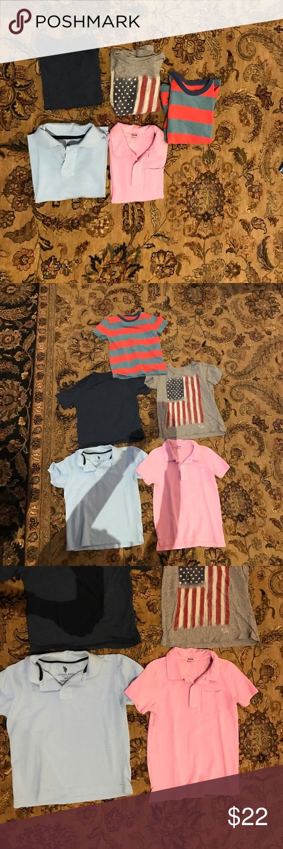 All American boy bundle 5/6 All in great condition. Pink Ruum polo size 5/6 100% cotton very soft. Light blue polo size 6; 60 cotton/40 poly. US polo assn. mini Boden (Nordstrom purchase)  size 5/6 100% cotton. Ruum American flag tee super cute 100% cotton very soft. Boys navy blue v neck tee by Cherokee size 4:5 but fits like 5/6 60 cotton 40 poly. Your boy will be in style all summer w/ this bundle!! Separately Tees are $5ea. Polos $6ea. Best value purchase entire bundle. Ruum Shirts…