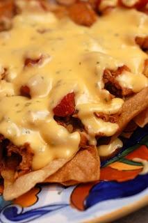 Emeril's Shredded Chicken Nachos (with cheese sauce)