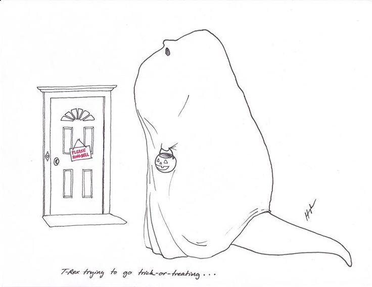 T-Rex trying to go trick-or-treating. T-Rex and other dinosaur jokes and cartoon comics #trex