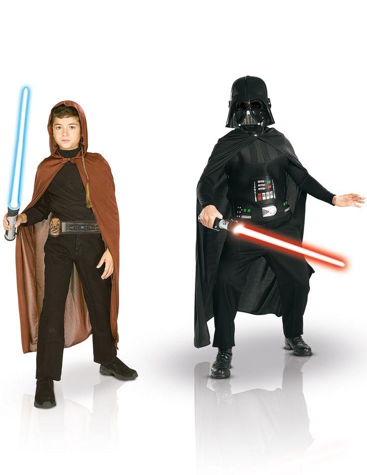 Pack disfraces Jedi + Dark Vador niño Star Wars™ caja: Esta pack de disfraces con licencia oficial Star Wars™ es para niño. Incluye traje de Jedi y disfraz de Dark Vador™.El disfraz de Jedi de Star Wars™ incluye capa con...