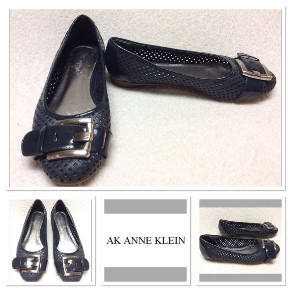 blue Anne Klein AK7briele cutout flats sz 7.5M Very cute, gently worn Anne Klein flats size 7.5M. Features leather upper, manmade balance, buckle detail on toe, with cut out design. These are in great shape. They do show minor wear to the footbed. Perfect for spring and summer! Anne Klein Shoes Flats & Loafers