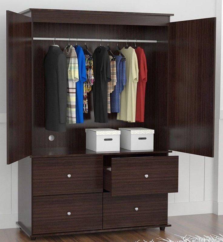 Contemporary Armoire Wardrobe Drawer Cabinet Storage Bedroom Furniture New #WardrobeCabinet