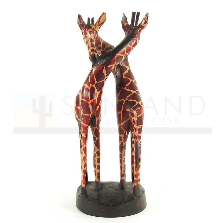 118104 kenyan carved 16in standing giraffes african for Home decor kenya