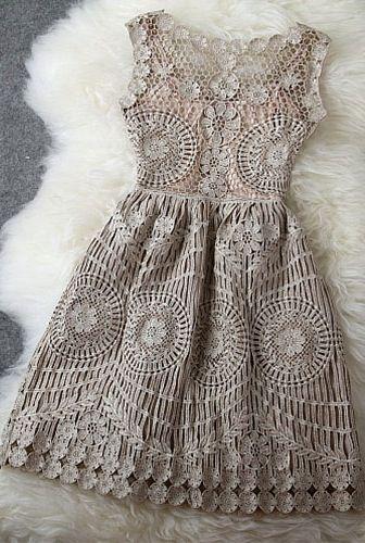 Gold Thread Lace Dress