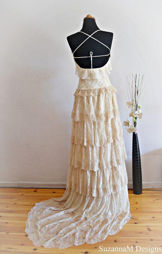 Cream Lace Bohemian Wedding Dress  Bridal Wedding Gown - Handmade by SuzannaM Designs
