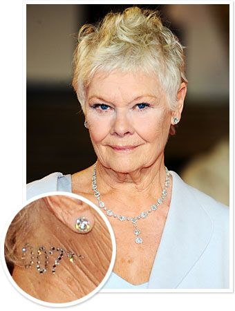 Judi Dench Wore a 007 Crystal Tattoo to the London Skyfall Premiere - AWESOME