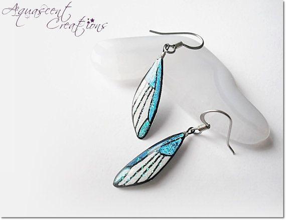 Small butterfly wing earrings, dangle butterflies earring, hand painted butterfly wing earrings, blue white resin earrings, women gift