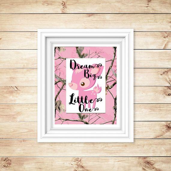 Pink Camo Nursery  Dream Big Little One  Pink by BluffViewDesign