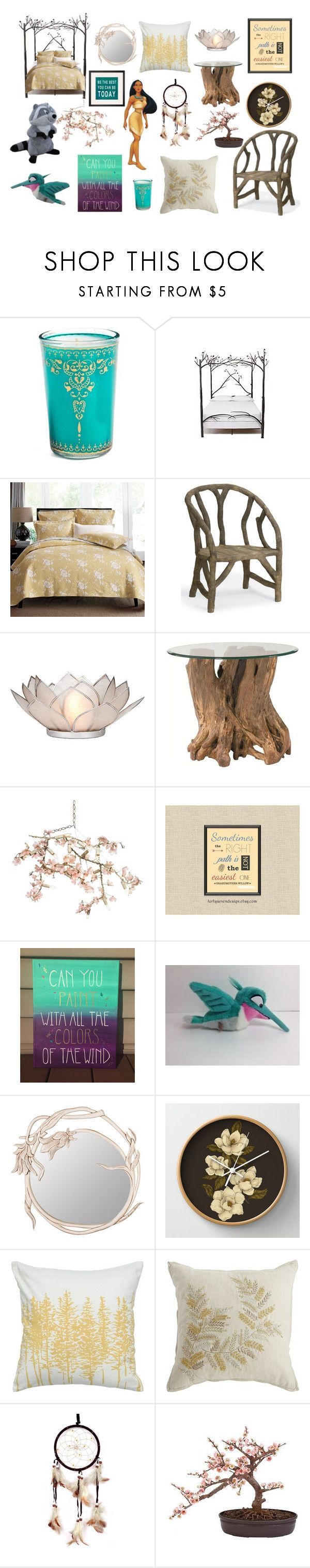 """Pocahontas Inspired Bedroom"" by madalynkw ❤ liked on Polyvore featuring interior, interiors, interior design, home, home decor, interior decorating, Market Street Candles, Anthropologie, Currey & Company and Cultural Intrigue"