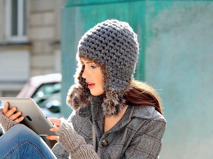 Описание вязания крючком шапки с «ушами» из журнала «Verena. Модное вязание» №2/2014