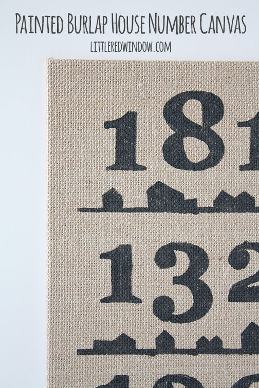 Painted Burlap House Number Canvas  | littleredwindow.com | Make a unique and sentimental painted burlap art canvas with this great tutorial!