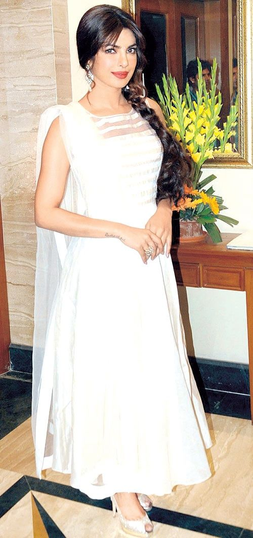 Priyanka Chopra in White Salwar