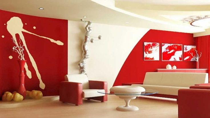 House painting pattern for living room with abstract wall mural plus white red leather arm sofa sets beige marble laminate flooring round and glass table top