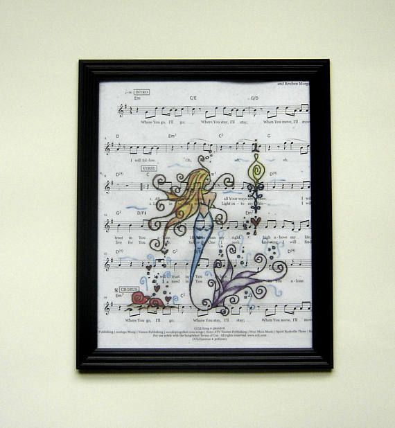 Mermaid music sheet print picture marine festive handmade